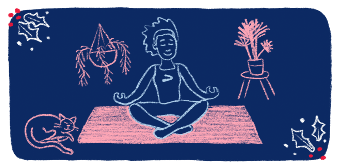A runner wearing a tank top with a Brooks logo sits in the middle of a room in a yoga pose while surrounded by plants and a sleeping cat.
