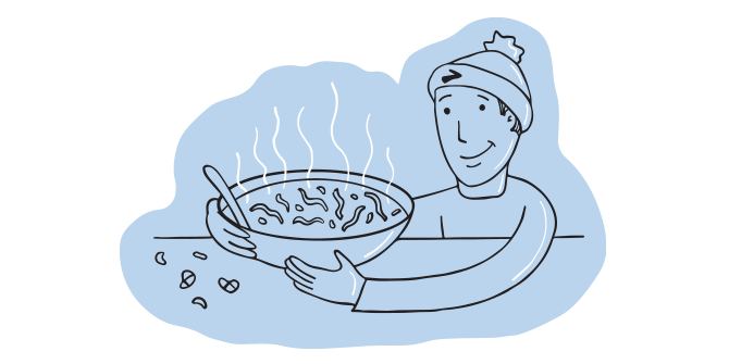 Illustration of a man holding a big, hot bowl of soup.
