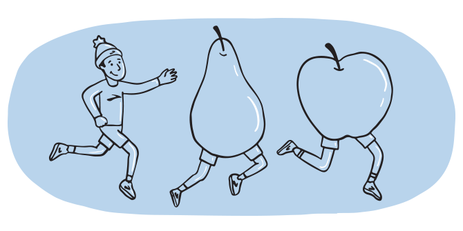Illustration of a man chasing after a human-sized pear and apple with legs.