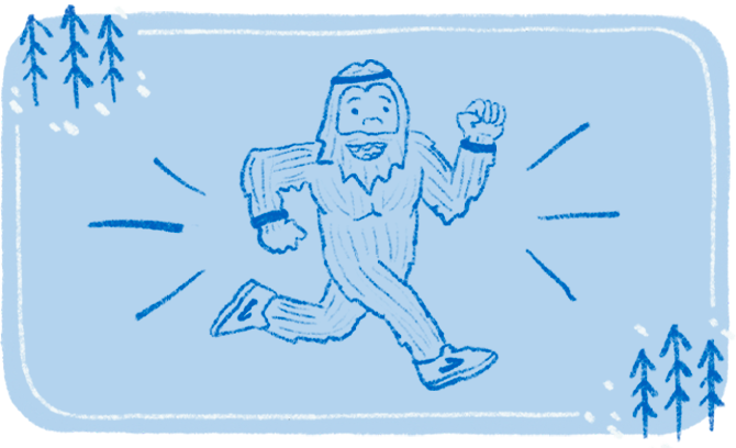 A whimsical illustration of a bigfoot wearing Brooks shoes and a headband running through the forest.