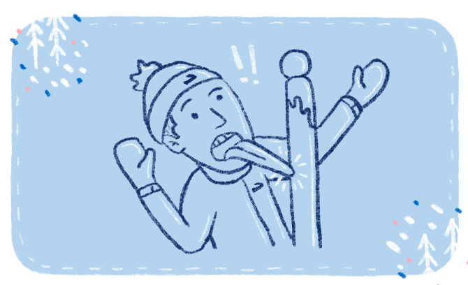 Illustration of a man wearing mittens and a beanie hat who has gotten his tongue stuck to a pole in cold weather.