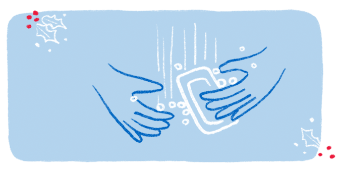 An illustration of a pair of hands lathering up with a bar of soap.