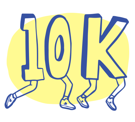 Comical illustration of the number 10 and letter K with legs running together