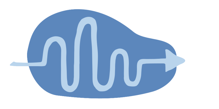 Illustration of arrow with a long arm, mimicking the path of a ball bouncing.