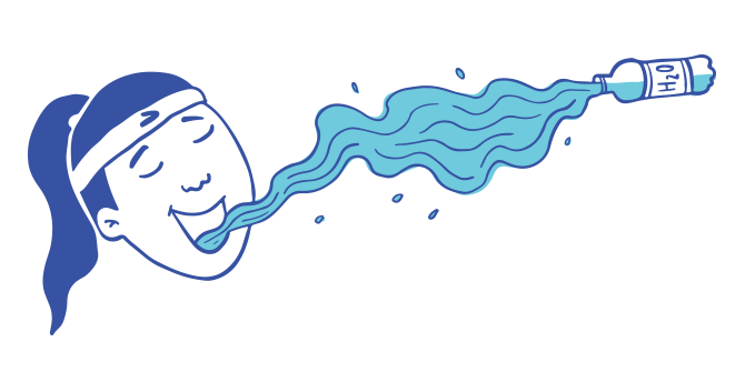 llustration of a woman comically drinking a flowing stream of water from a bottle