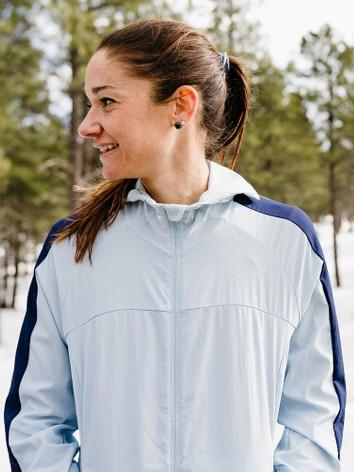 Karen Bertasso smiling in a blue jacket