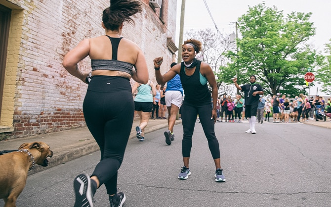 Runner approaching a finish line