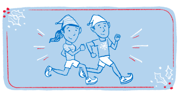 An illustration of two elves wearing pointy holiday Brooks Running shoes running together.