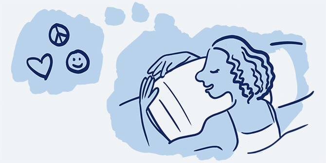 Illustration of a woman asleep who has a thought bubble showing she's dreaming of heart, smiley face, and peace sign icons.