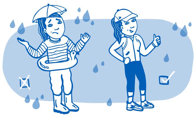 Illustration of two runners in different types of rain apparel