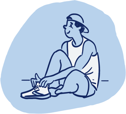 Illustration of a happy man sitting down and tying his shoes