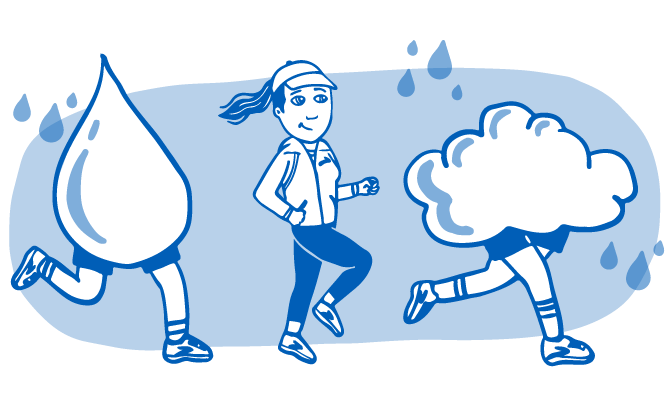 Illustration of a rain drop, a runner, and a cloud
