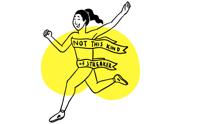 """Illustration of a nude runner covered by ribbon that says """"Not this kind of streaking"""""""