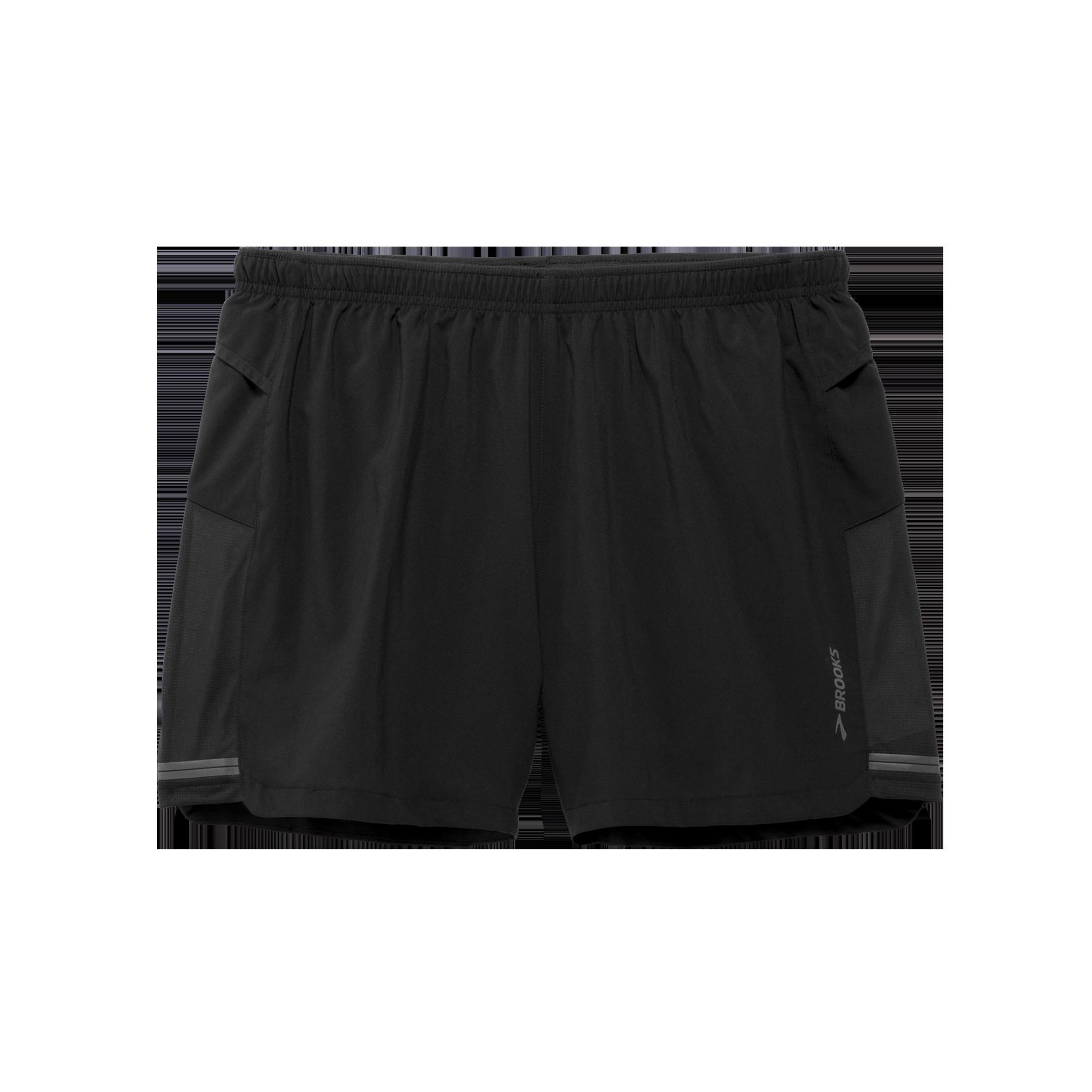 Black Brooks Sherpa 5 Inch Mens Running Shorts