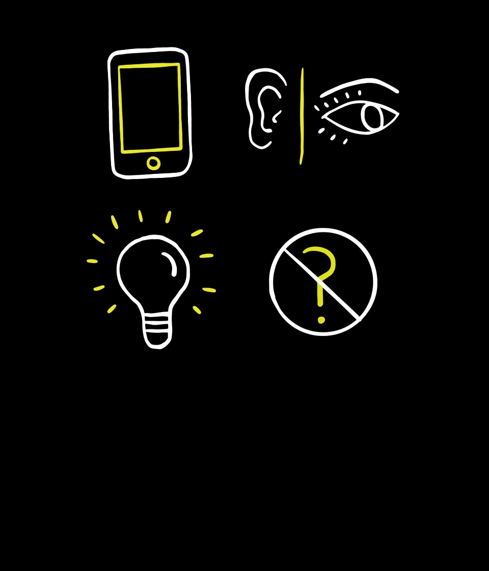 Illustrated phone, ear and eye, light bulb, and crossed-out question mark icons.
