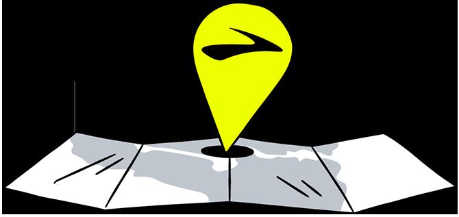Store locator map illustration