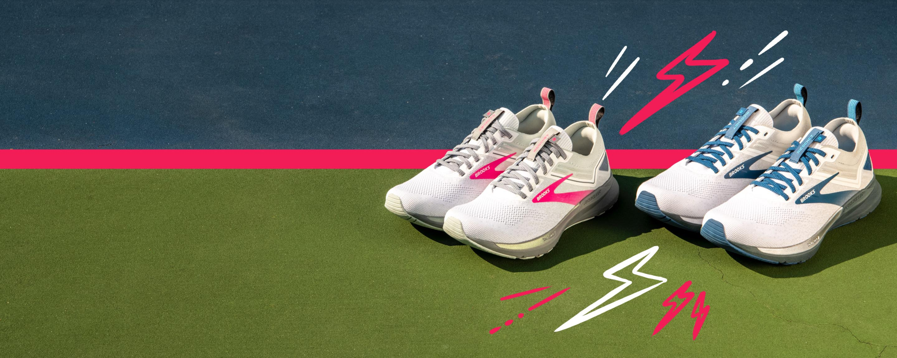 Two pairs of Brooks Ricochet shoes in pink and blue.