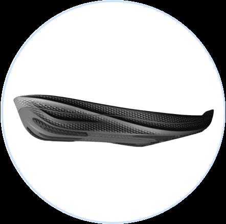 Una placa de propulsión de fibra de carbono