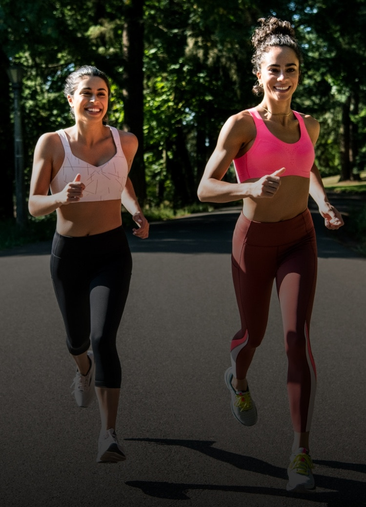 Two runners on a jog outside