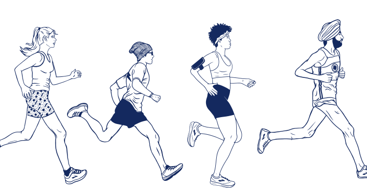 A line of illustrated runners