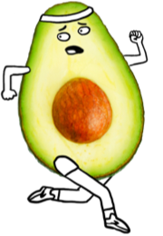 A drawing of an avocado running