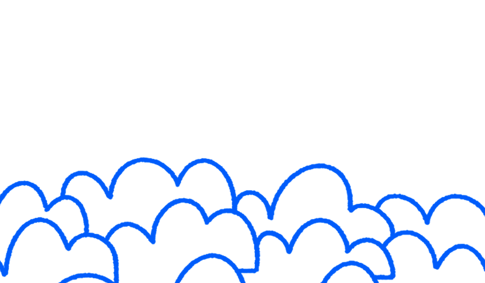 Illustrated clouds drawn in blue
