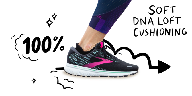 """A close up of a foot wearing the Ghost 14 with an arrow behind the shoe pointing to the right. """"100%"""" is handwritten to the left of the foot and """"soft DNA LOFT cushioning"""" is handwritten to the right."""
