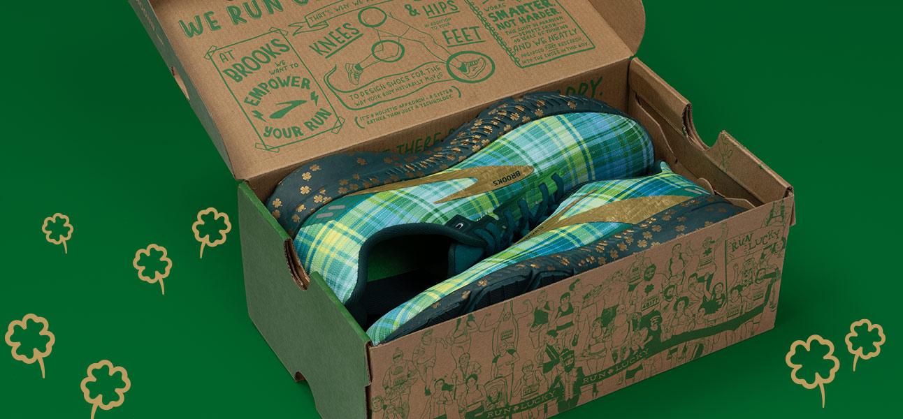 Run Lucky shoe box with Run Lucky shoes inside