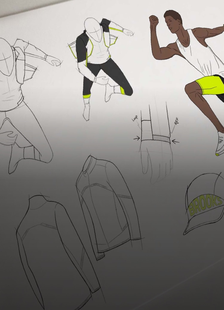 Sketches on papers of runners in motion