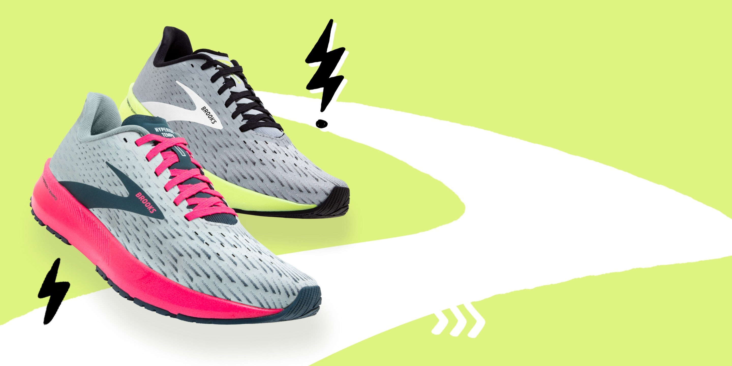a grey and pink and a yellow and grey hyperion tempo.