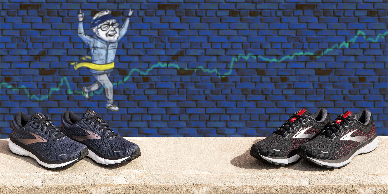 Graffiti of Warren Buffet crossing a finish line