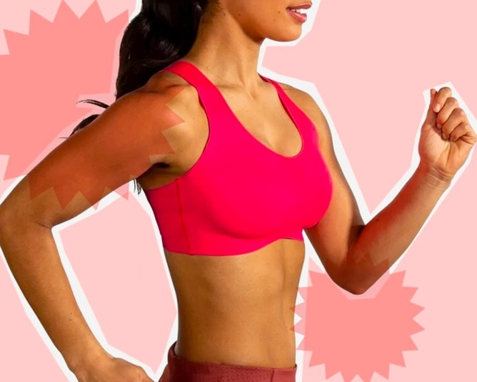 Woman with pink bra