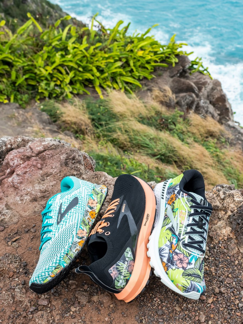 Shoes with a multicolored tropical pattern
