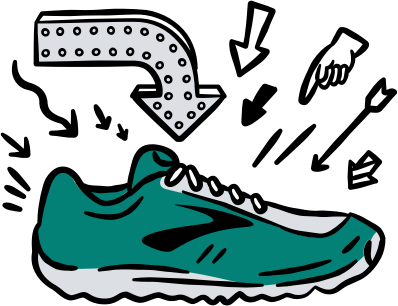 Illustrated Brooks shoe with arrows pointing at it