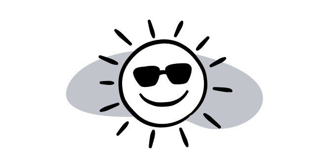 Illustrated sun with sunglasses
