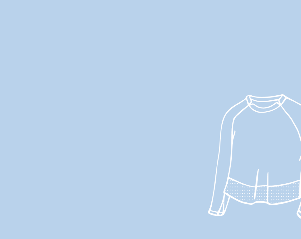 light blue background with white illustration of a long sleeve