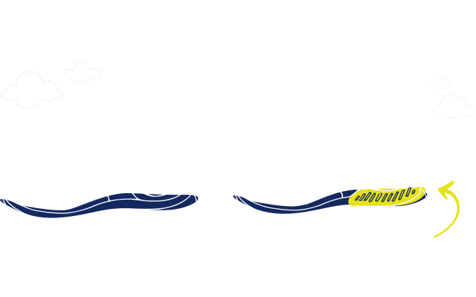 Illustrated Brooks Glycerin 19 and Glycerin GTS 19 shoes with a yellow arrow pointing to the yellow highlighted GuideRails support in the GTS 19.