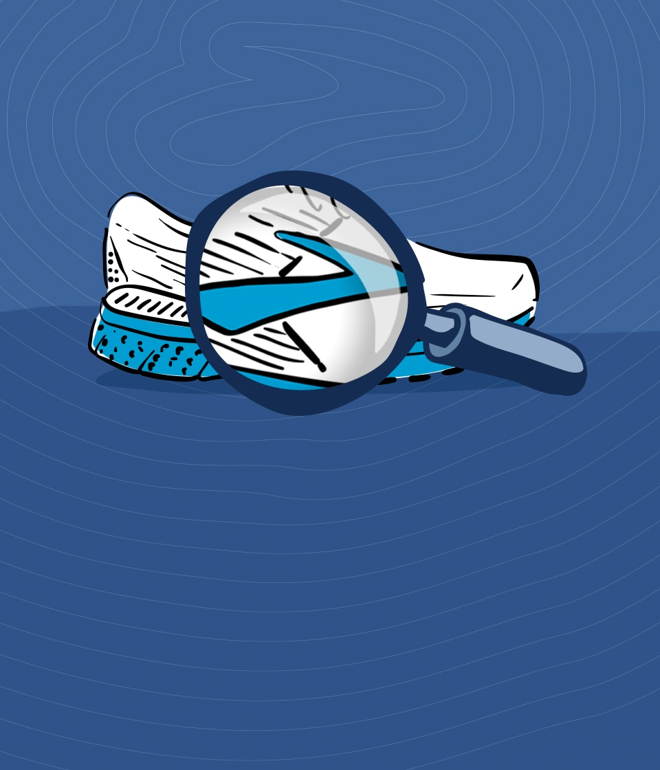 An illustration of a shoe over a magnifying glass with the Brooks logo.
