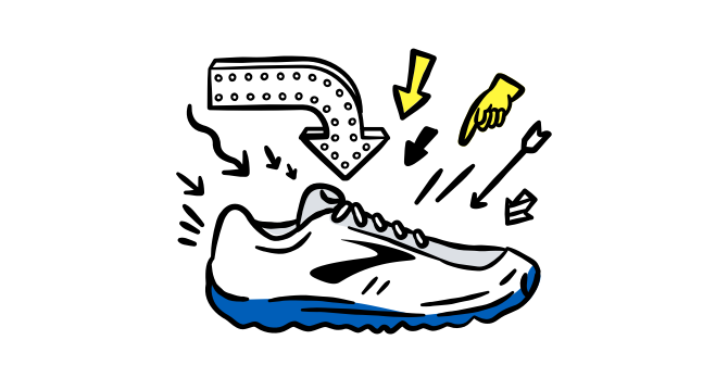 An illustrated shoe with arrows pointing to it