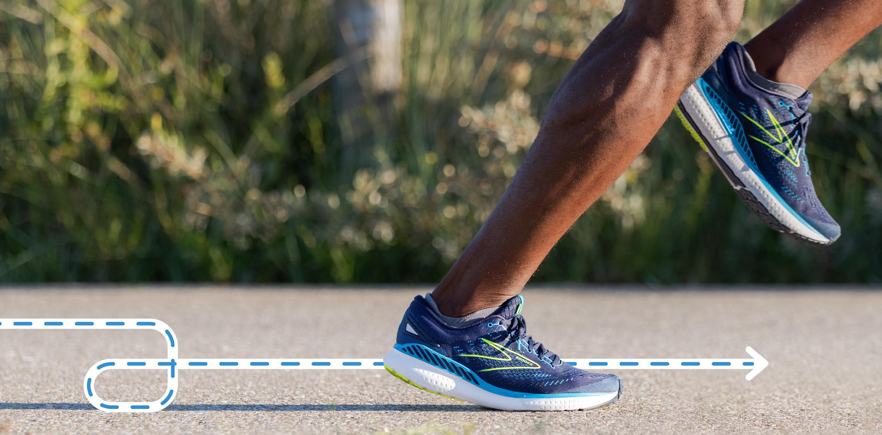 Glycerin GTS 19 on a runners foot mid stride.