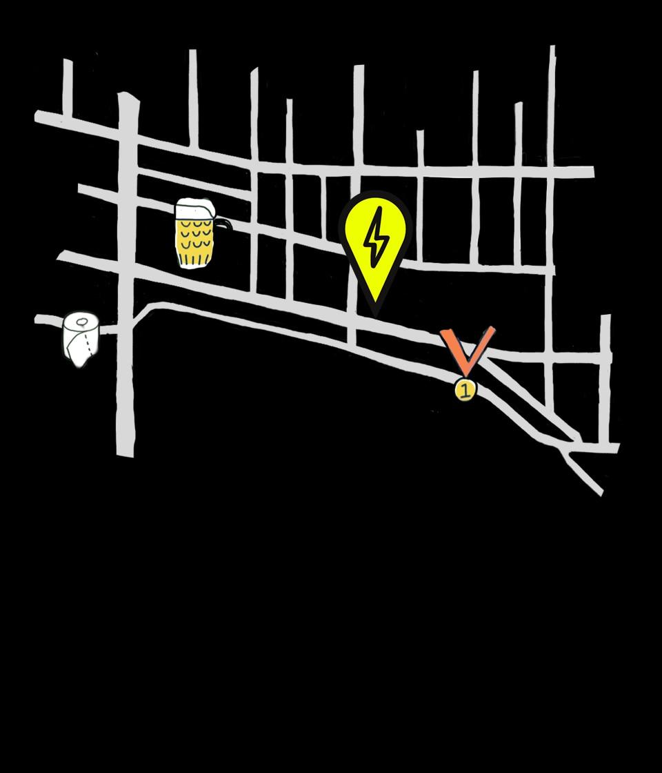 Illustrated map of Fremont neighborhood of Seattle near Brooks headquarters.