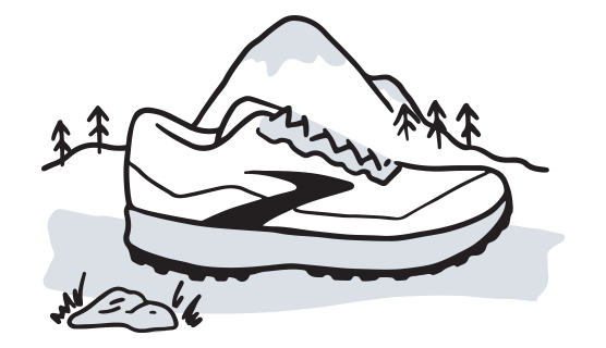 illustration of a Brooks trail shoe with mountains in the background