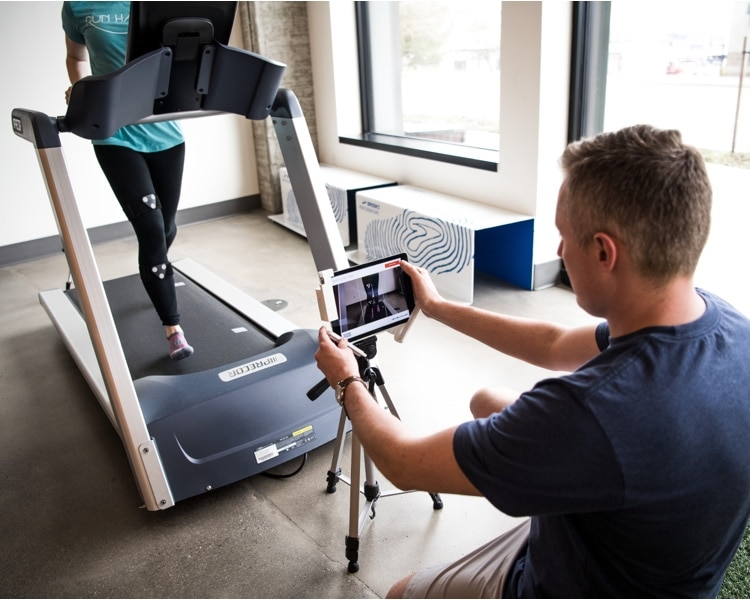Filming stride on a treadmill