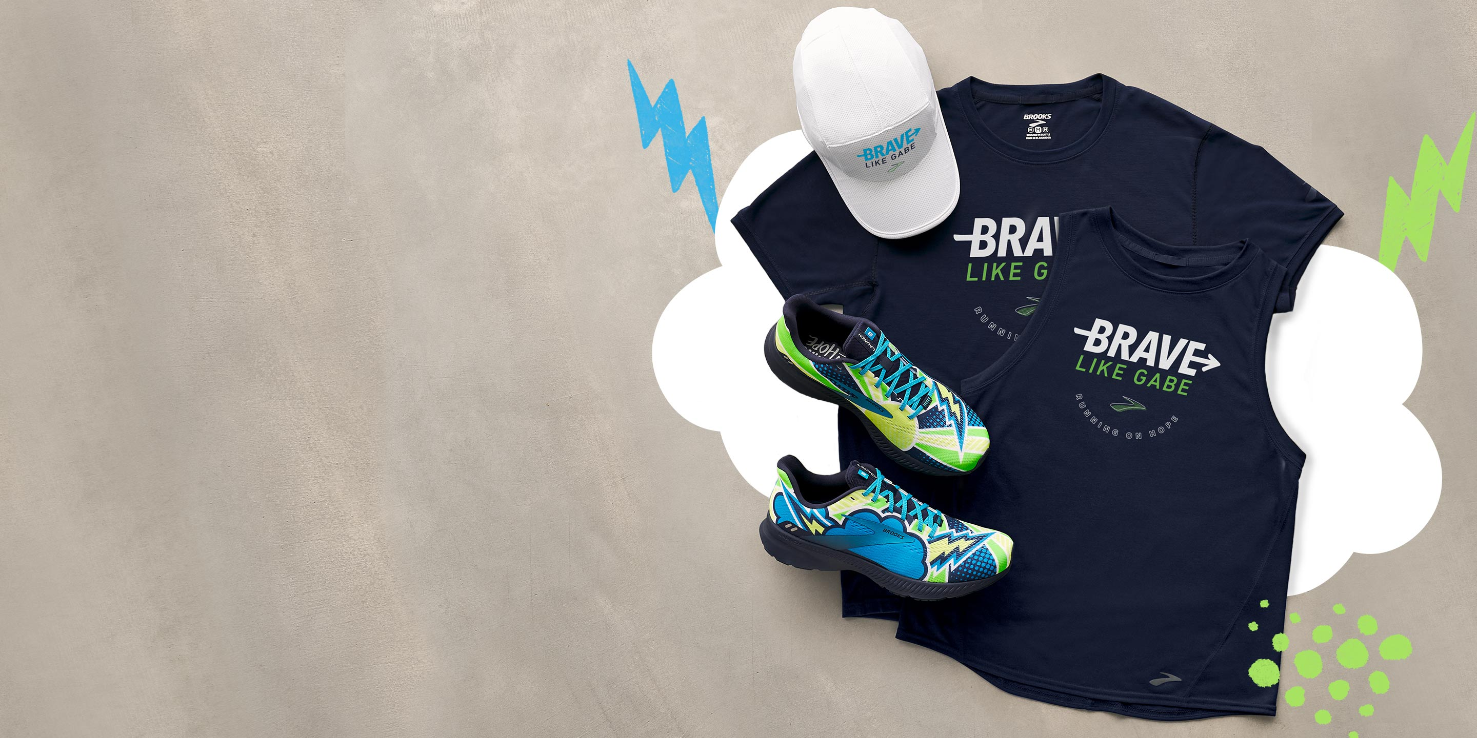 Brave like Gabe collection shirt, tank, shoes, and hat.
