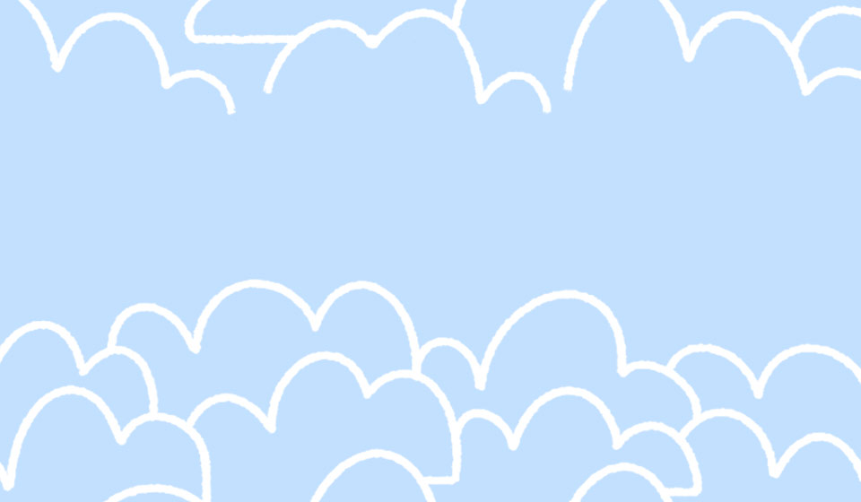 A blue background with white cartoon clouds drawn on it