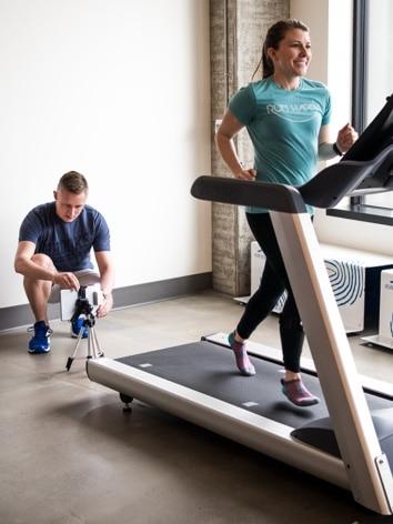 Women testing a shoe on a treadmill