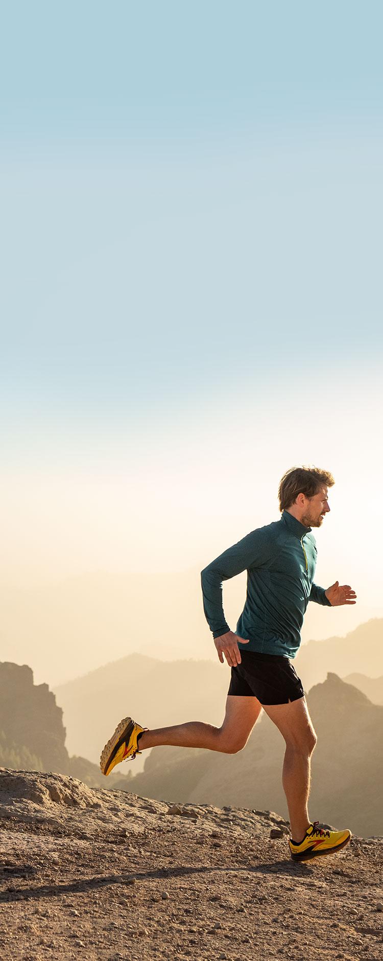 A man running on trail