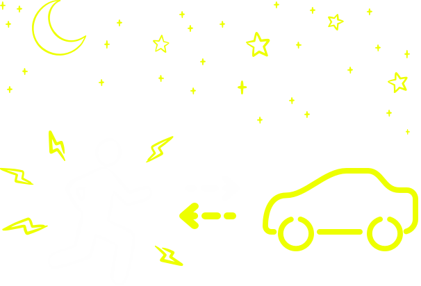 Illustration of a person being seen by a car