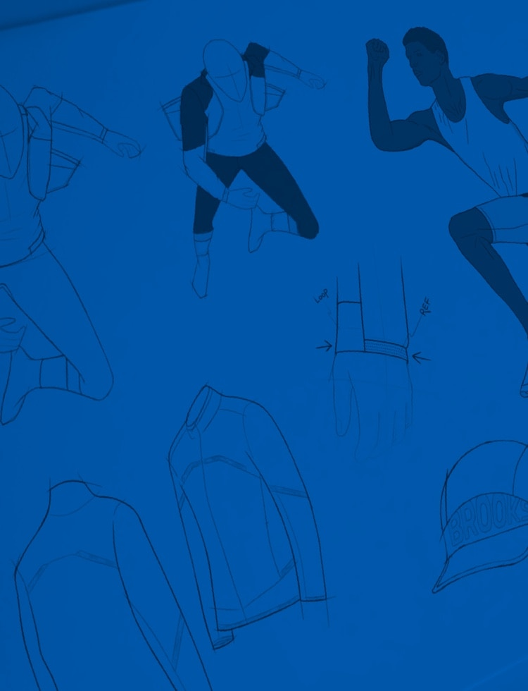 Blue background with navy blue illustrations
