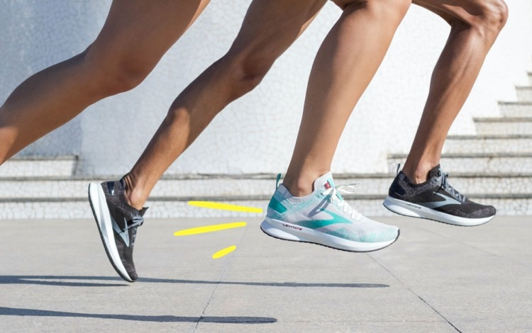 Runners mid-stride in Brooks shoes